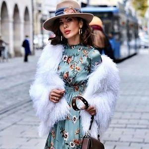 New Zara Dress with Flowers Floral Midi Dress